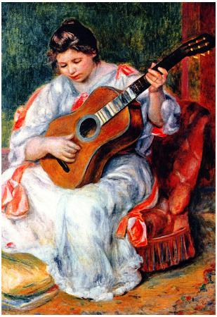 Pierre Auguste Renoir Guitarist Art Print Poster