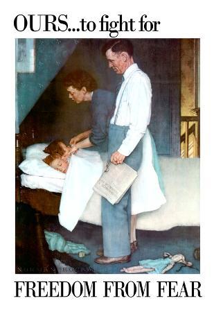 Norman Rockwell Freedom From Fear WWII War Propaganda Art Print Poster