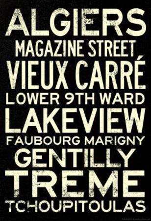 New Orleans Neighborhoods Travel Poster