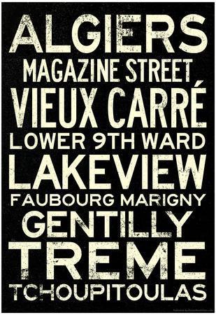 New Orleans Neighborhoods Vintage Subway Travel Poster