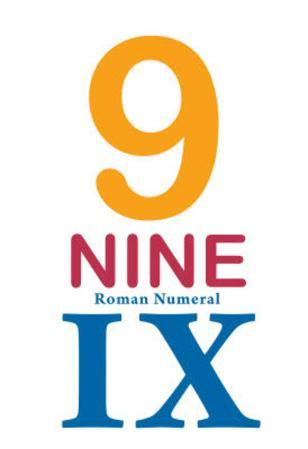 Number 9 Sign with Roman Numeral Banner Poster
