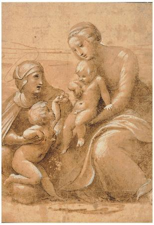 Raphael Madonna Col Bambino San Giovannino e Sant Elisabetta Art Print Poster