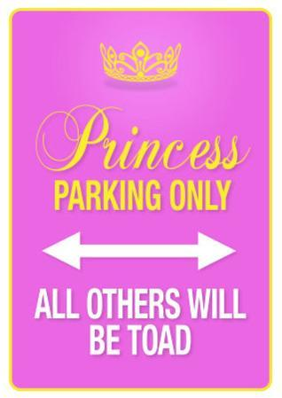 Princess Parking Only Pink Poster Sign