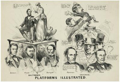 Platforms Illustrated Political Cartoon Art Print Poster