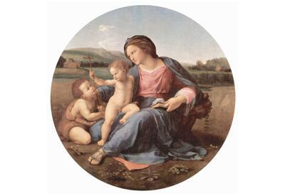 Raffael (Alba Madonna, Scene: Mary with Christ Child and John the Baptist, Tondo) Art Poster Print