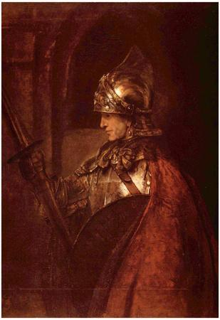 Rembrandt Harmensz. van Rijn (Man with arms (Alexander the Great)) Art Poster Print