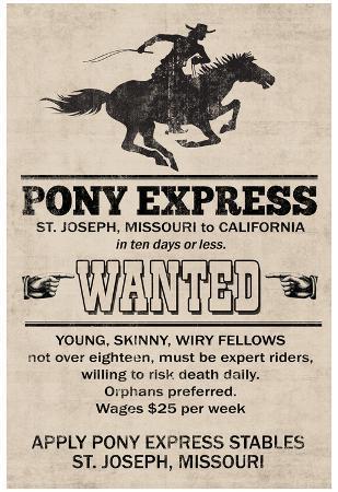 Pony Express Replica Recruitment Advertisement Print Poster