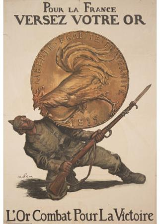 Pour la France Versez Votre Or WWI War Propaganda Art Print Poster