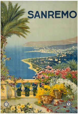 Sanremo Italy Tourism Travel Vintage Ad Poster Print