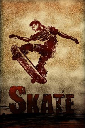 Skateboarding Skate Sketch Sports Poster Print