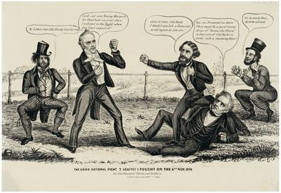 The Grand Fight Political Cartoon Art Print Poster