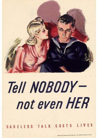 Tell Nobody Not Even Her Careless Talk Costs Lives WWII War Propaganda Art Print Poster