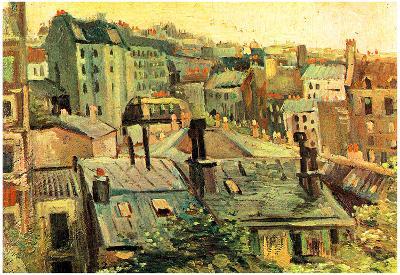 Vincent Van Gogh Overlooking the Rooftops of Paris Art Print Poster