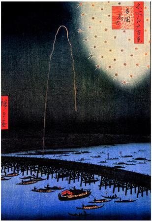 Utagawa Hiroshige Fireworks at Ryogoku