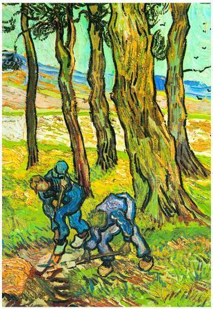 Vincent Van Gogh Two Men Digging Out a Tree Stump Art Print Poster
