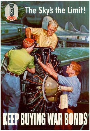 The Sky's the Limit Keep Buying War Bonds WWII War Propaganda Art Print Poster