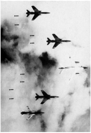 Vietnam War (B-66 and F-105s Bombing Vietnam) Photo Poster Print