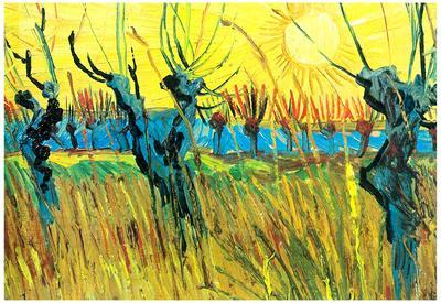 Vincent Van Gogh Grazing at Sunset Art Print Poster