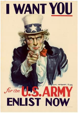 Uncle Sam I Want You for U.S. Army WWII War Propaganda Art Print Poster