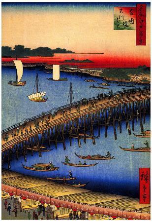 Utagawa Hiroshige Ryogoku Bridge and Great Riverbank