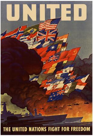 United The United Nations Fight for Freedom WWII War Propaganda Art Print Poster