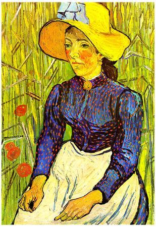 Vincent Van Gogh Young Peasant Woman with Straw Hat Sitting in the Wheat Art Print Poster
