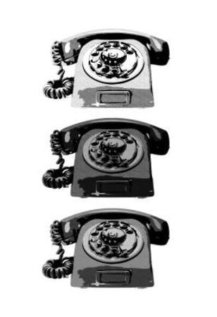 Vintage Rotary Telephone b&w Pop Art Print Poster