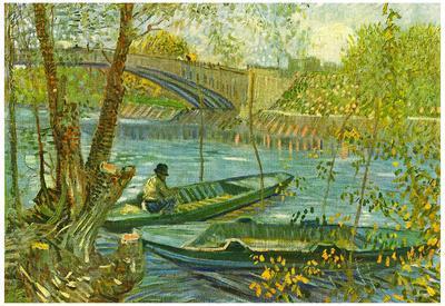 Vincent Van Gogh Angler and Boat at the Pont de Clichy Art Print Poster