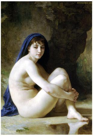 William-Adolphe Bouguereau Seated Nude Art Print Poster