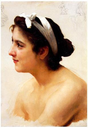 William-Adolphe Bouguereau Study Of A Woman For Offering To Love Art Print Poster