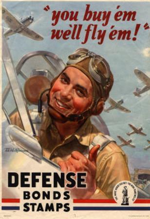 You Buy Em We'll Fly Em Defense Bonds Stamps WWII War Propaganda Art Print Poster