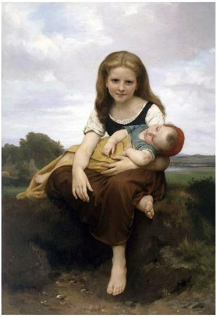 William-Adolphe Bouguereau The Elder Sister Art Print Poster