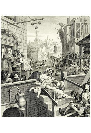 """William Hogarth (Consequence """"of beer and brandy lane road,"""" Brandy Lane) Art Poster Print"""