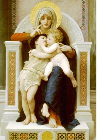 William-Adolphe Bouguereau Vierge Jesus Saint Jean Baptiste 1875 Art Print Poster