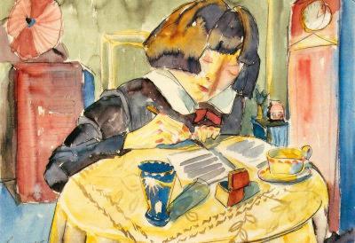 Walter Gramatte Writing Girl Sonia Gramatte Art Print Poster