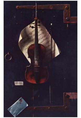 William Michael Harnett (The old violin) Art Poster Print