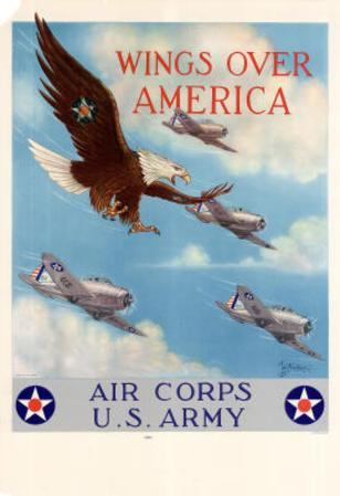 Wings Over America Air Corps U.S. Army WWII War Propaganda Art Print Poster