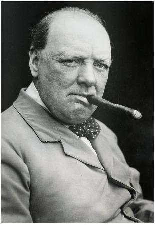 Winston Churchill Smoking Cigar Archival Photo Poster Print