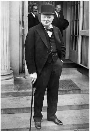 Winston Churchill with Cane Archival Photo Poster Print