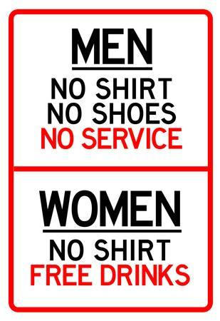 Women Free Drinks Men No Service Parking Sign Poster