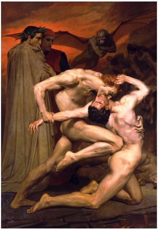 William-Adolphe Bouguereau Dante And Virgil In Hell Art Print Poster