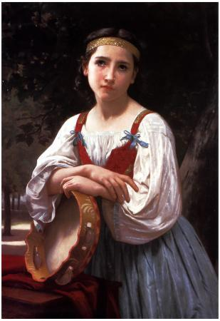 William-Adolphe Bouguereau Gypsy Girl with a Basque Drum Art Print Poster