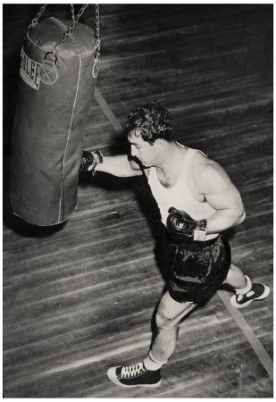 Rocky Marciano Punching Bag Archival Photo Sports Poster Print