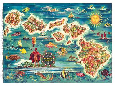 Dole Map of the Hawaiian Islands c.1950