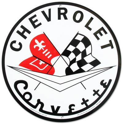 Chevrolet Chevy Corvette Racing Flags Round