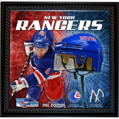 Michael Del Zotto NYR Floating Mini Helmet Collage w/ Game Used MSG Net and Jersey Swatch