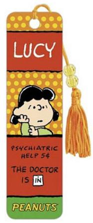 Peanuts Lucy Psychiatric Help 5 Cents Beaded Bookmark