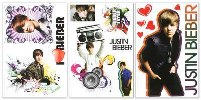 Justin Bieber Peel and Stick Removable Reusable Decorative Decals Sticker Pack 3 Sheets