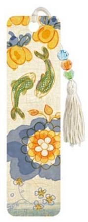 Asian Tea Flowers Beaded Bookmark