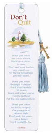 Don't Quit Poem Beaded Bookmark